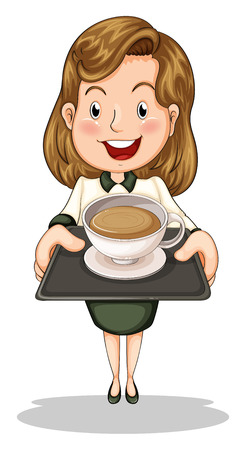 serve: Illustration of a happy businesswoman holding a tray with a cup of choco on a white background Illustration