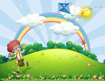 Illustration of a boy playing with his kite at the hilltop with a rainbow Vector