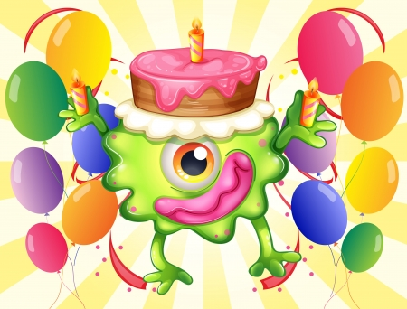 occassion: Illustration of a green monster with a cake above the head on a white background