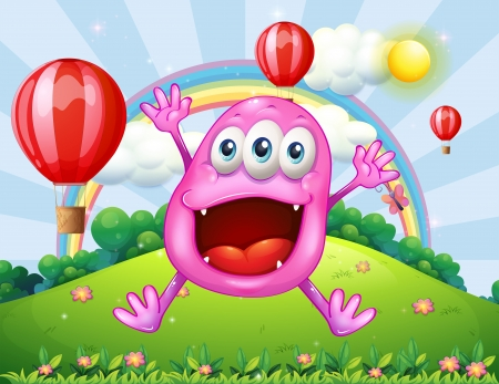 noontime: Illustration of a hilltop with a very happy pink monster jumping