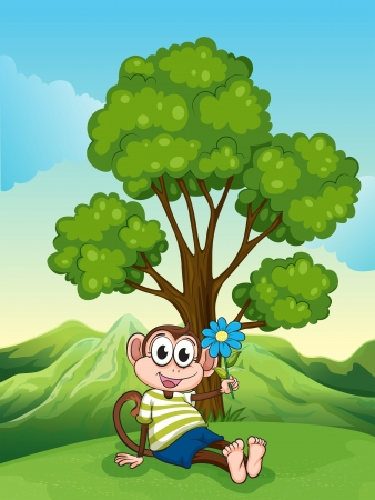 Illustration of a monkey with a blue flower sitting under the tree Stock Vector - 22833239