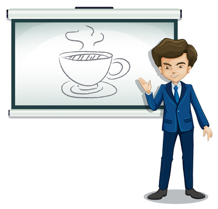 Illustration of a man explaining the picture in the bulletin board on a white background