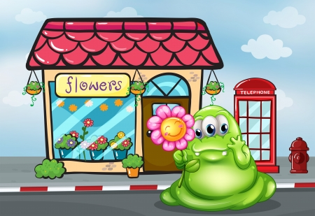 Illustration of a three-eyed green monster holding a flower in front of the flower shop Vector
