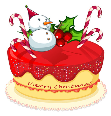 Illustration of a cake with a snowman, canes and a poinsettia plant on a white background Vector