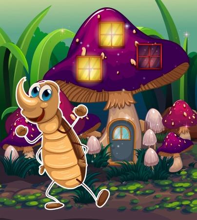 Illustration of a cockroach near the violet mushroom house Stock Vector - 22833571
