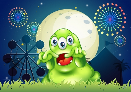 scaring: Illustration of a green monster scaring at the amusement park