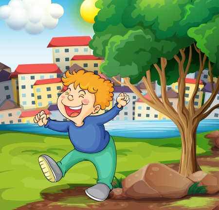 establishments: Illustration of a happy young boy near the tree