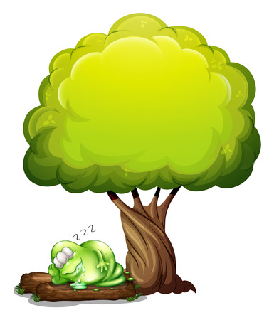 salivating: Illustration of a green three-eyed monster sleeping soundly under the tree on a white background