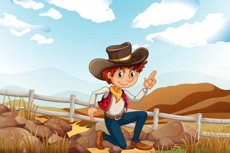 adventurer: Illustration of a young explorer at the hilltop near the rocks