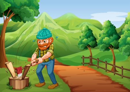 farm land: Illustration of a lumberjack chopping the woods at the pathway going to the farm