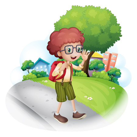 Illustration of a boy walking at the street carrying a backpack on a white background Vector