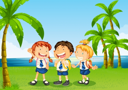 Illustration of the three pupils at the riverbank Vector