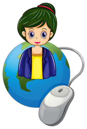 Illustration of a globe with a beautiful businesswoman and a computer mouse on a white background Vector