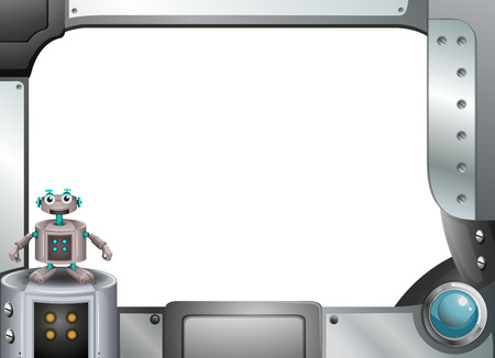 computerized: Illustration of a gray metallic frame with a robot