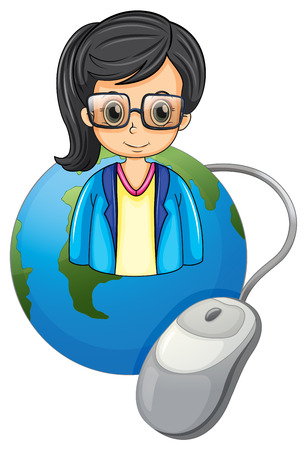 mouse click: Illustration of a serious lady above the globe with a computer mouse on a white background