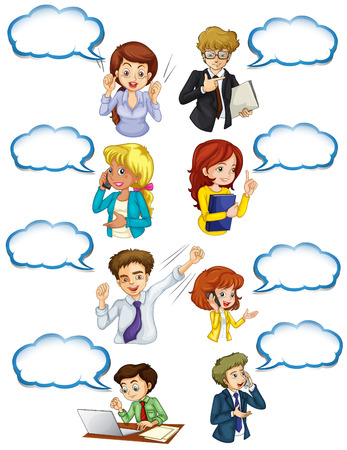 cellphone: Illustration of the business minded people with empty callouts on a white background Illustration