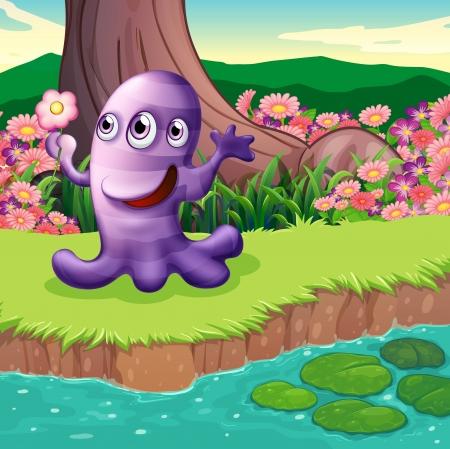 강둑: 강둑에서 세 가지 눈 보라색 괴물의 그림 일러스트