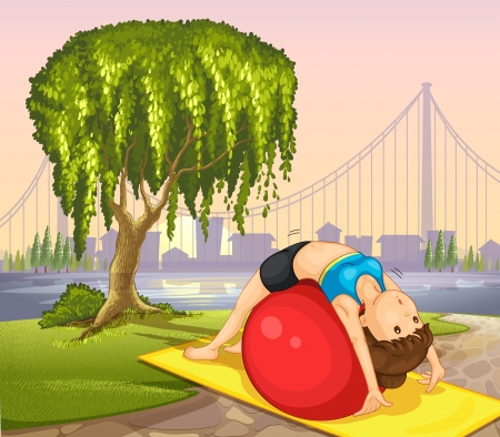 fit ball: Illustration of a girl keeping her body fit near the tree