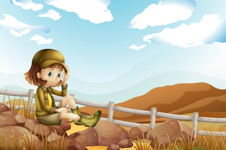 adventurer: Illustration of a female explorer sitting above the rock near the fence