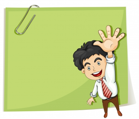 Illustration of a man making a hand signal in front of the big empty template on a white background Stock Vector - 22833850