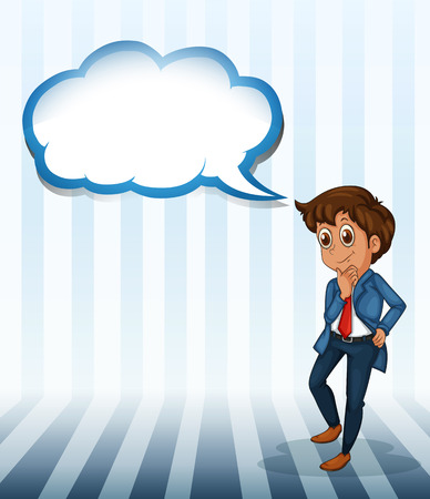 callout: Illustration of a man thinking with an empty callout on a white background Illustration