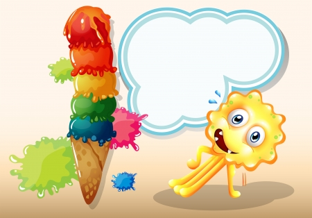 Illustration of a monster exercising near the icecream Vector