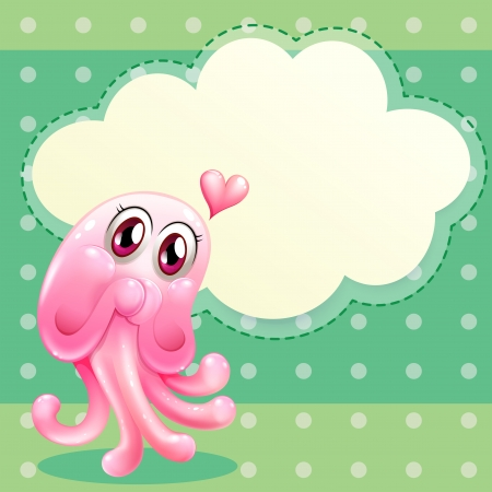 lovable: Illustration of a lovable pink monster with an empty cloud template
