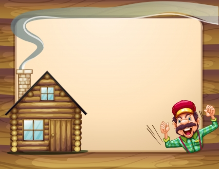 Illustration of an empty wooden frame with a lumberjack shouting and a house Vector