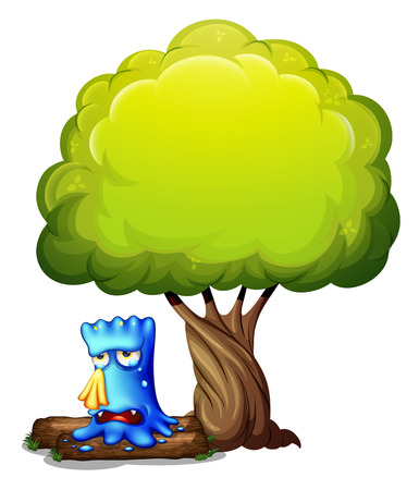 Illustration of a monster crying under the tree on a white background Illustration