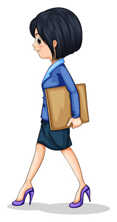 formal attire: Illustration of a businesswoman walking while holding the documents on a white background