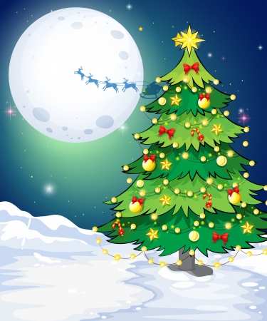 tall tree: Illustration of a tall christmas tree standing in a snowy area