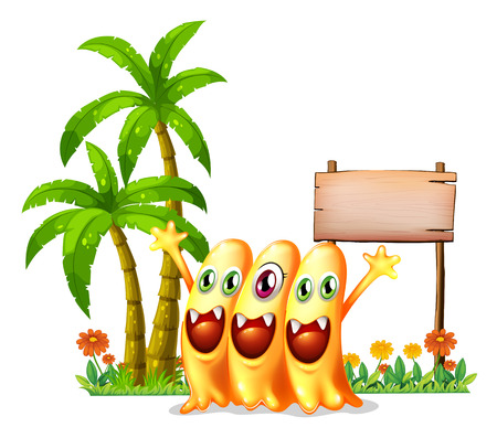 Illustration of the three happy orange monster in front of the empty wooden signage on a white background   Vector