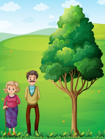 Illustration of the grandparents at the hilltop near the tree Vector