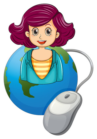 Illustration of a smiling woman above the earth with a computer mouse on a white background Vector
