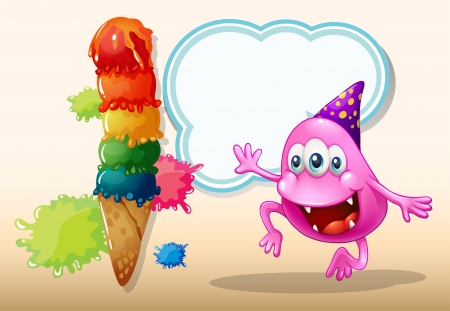 Illustration of a monster jumping near the giant icecream Vector
