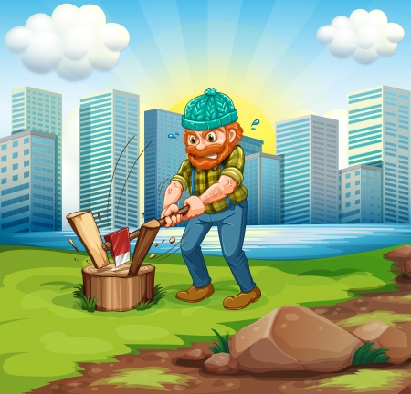 Illustration of a man chopping woods across the tall buildings Stock Vector - 22833893