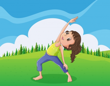 yoga outside: Illustration of a cute little girl exercising at the hilltop