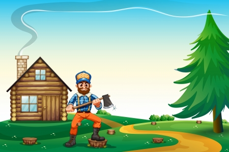 hilltop: Illustration of a hilltop with a native house and a lumberjack
