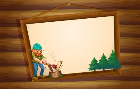 Illustration of a hanging wooden signboard with a lumberjack chopping the woods Vector