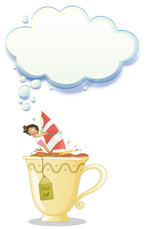 Illustration of a girl above the big mug of tea on a white background Vector