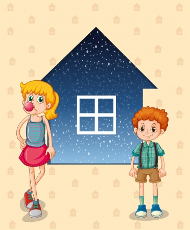 siblings: Illustration of the two siblings in front of the house Illustration