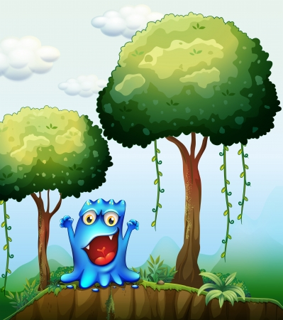 Illustration of a smiling blue monster at the forest near the cliff Vector