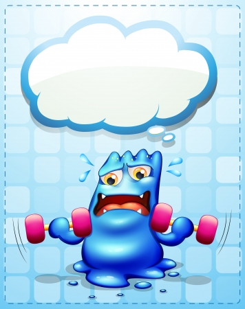 Illustration of a monster exercising with an empty callout template Vector