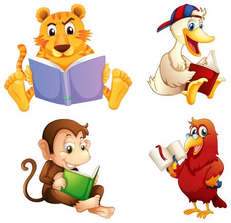 lectura: Ilustración de los cuatro animales de la lectura en un fondo blanco