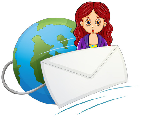 Illustration of a shocked woman in the middle of the envelope and the globe on a white background Vector