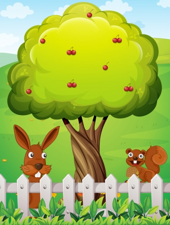 Illustration of a rabbit and a squirrel near the tree Vector