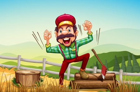hilltop: Illustration of a happy woodman at the hilltop