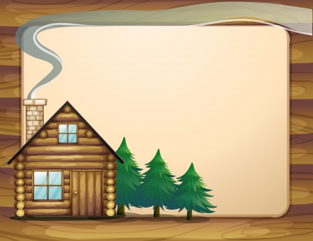 cartoon menu: Illustration of a house in front of the empty wooden template Illustration