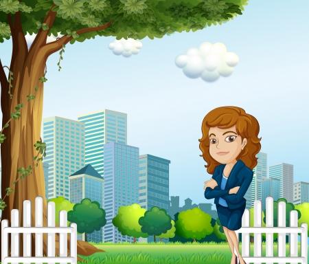 Illustration of a girl relaxing on her breaktime near the tree Stock Vector - 22836525