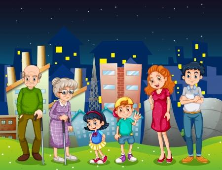 семья: Иллюстрация семьи на городском стоящим перед высотных зданий